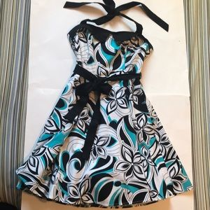City Triangles strapless Floral cotton dress size7